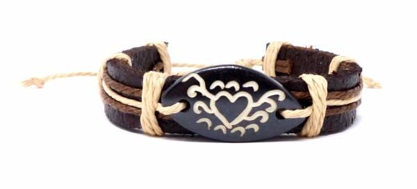 Armband Herren Damen Leder-Armbänder Handmade - black Heart