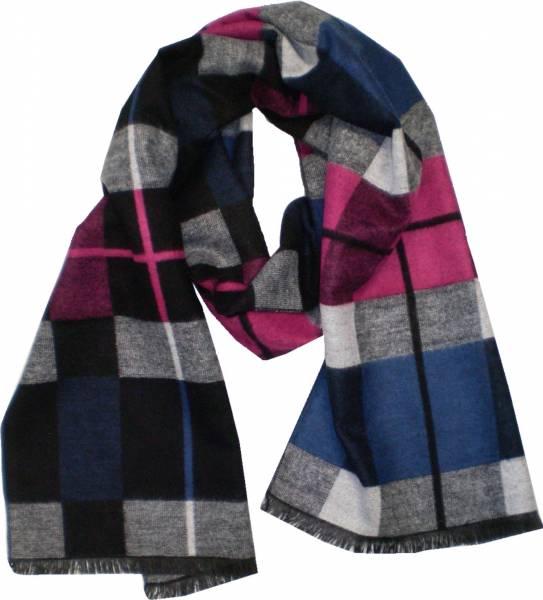 XL Schal Herren Schals extra lang Damen Schal kariert gemustert Herbst Winter Luxus Scarfs Deluxe Schals super weich soft (blaurosé) 4769