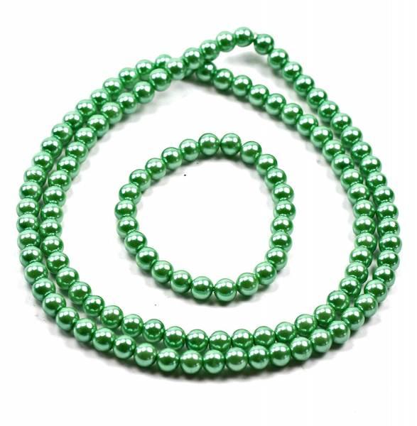 Perlenketten Set Perlen Kette mit Perlen Armband Schmuck Set Perlensets (58, grün)