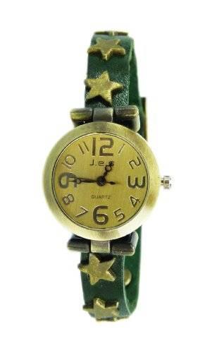 hochwertige Lederarmband Uhr echt Leder Damenuhr SCHWARZ-STERN