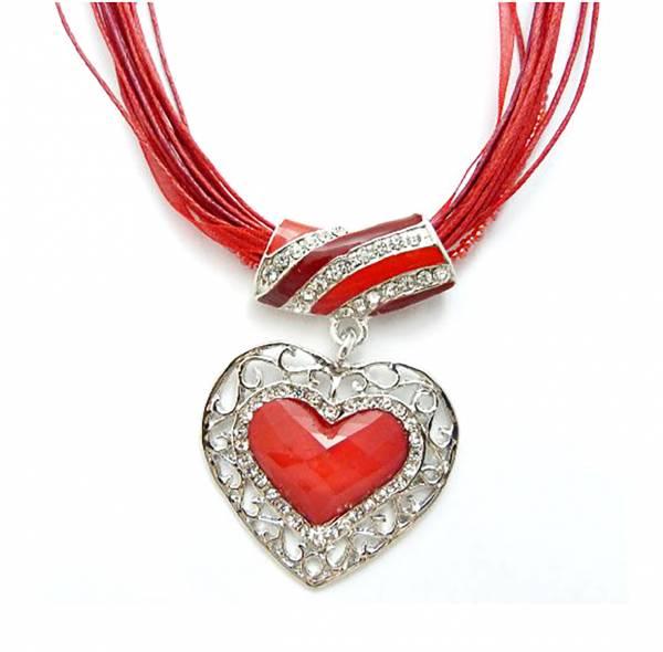 Damen-Halskette mit schönem Herz-Anhänger verschiedene Farben (rot) Oktoberfest