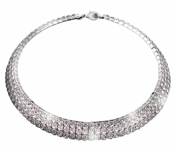 Kette Damen Halskette 3 Reihen Strass Colliers silber Glanz Hals-Ketten edles Strass Collier silber 3R 2725