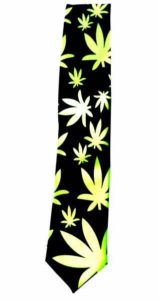 Cannabis Krawatte Anzug Schlips schwarz hell-grün