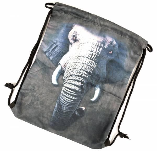 Beutel Rucksack Herren Damen Hipster Tasche grau schwarz Turnbeutel Segeltuch Seemannsbeutel Stoffbeutel Kinder Gym Tasche - Elefant blue/black
