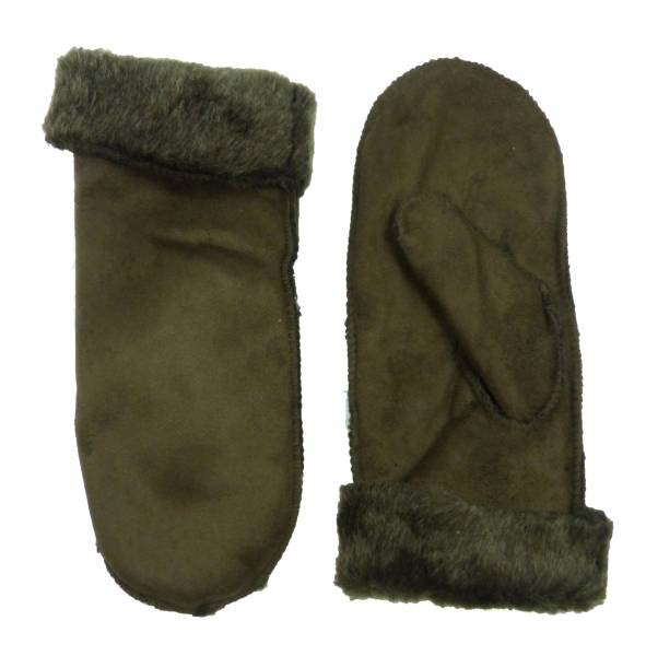 Handschuhe Herren Damen Fell Hand Schuhe warm gefüttert Winter Hand Gloves oliv braun 2