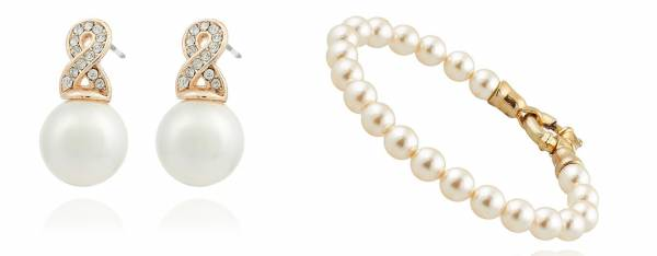 Damen-Perlen Schmuck-Set Armband mit Ohrringen Woman Pearl-Earrings Pearls-Bracelet Glanz-Perlen creme-weiß