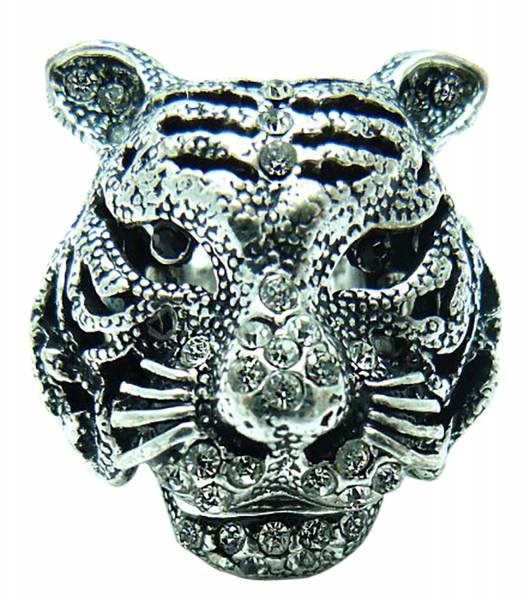 Ringe Finger-Ring XL Tiger Statement Strass Ring Tiger Strass besetzt alle Größen (Weiss)