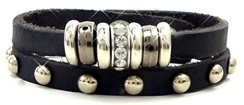 Leder Armband Damenarmband handgefertigt -Paris- Strass SCHWARZ H-3x