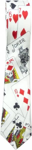 Herren Damen Krawatte Karten Motiv weiß Schlipse Poker Star