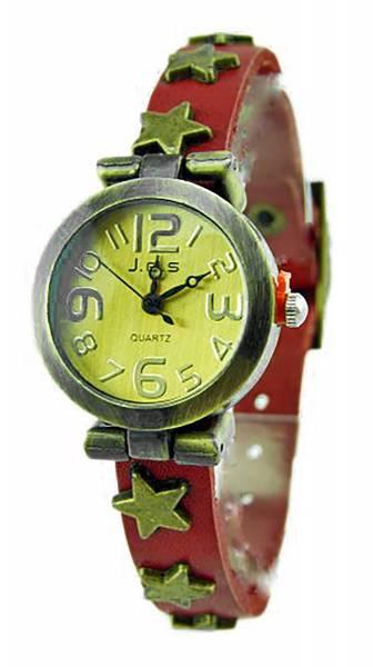 Damen-Uhren Leder-Armband Uhr rot-braun mit Stern hochwertige Wickel Lederarmbanduhr mit Stern Nieten ROT