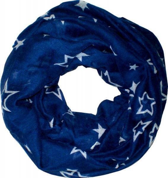 Schal Herren Damen Loop Schal blau Schlauch Schals Rundschal (Stern blau) 4717