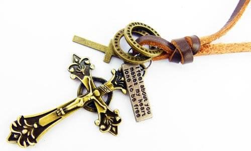 Rosenkranz der Extraklasse Halskette Gebetskette Lederkette mit Anhänger (Cross)