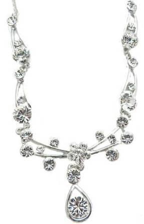Swarovski-Stein Halskette 4334 Damen Collier edle Damenhalskette mit Swarovski Steinen besetzt WEISS