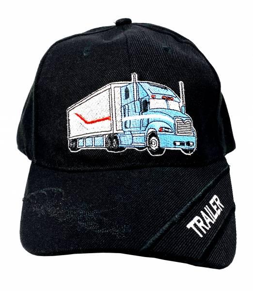 Herren Damen Kinder Base Cap Trucker schwarz Junge Schirm Mütze Motiv Trailer