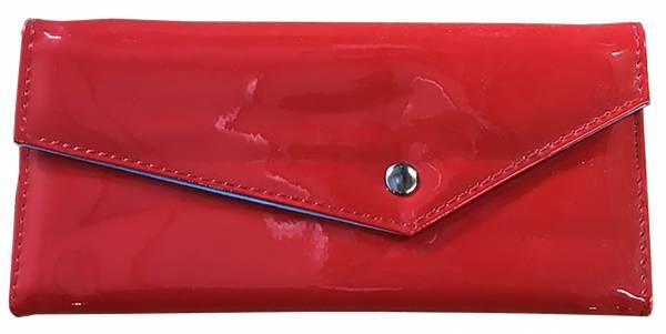 Damen-Geldbörse groß viele Fächer Lack-Leder Portemonnaie Rot