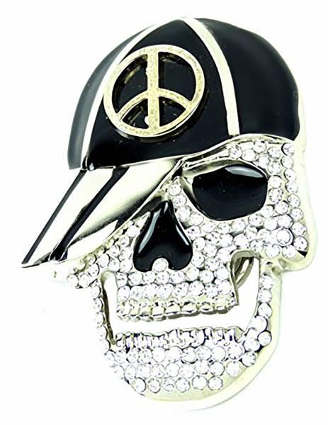 Gürtel-Schnalle Biker Wechel-Schnalle Punk Rock Totenkopf Koppel Gothic Strass Skull Peace Cap