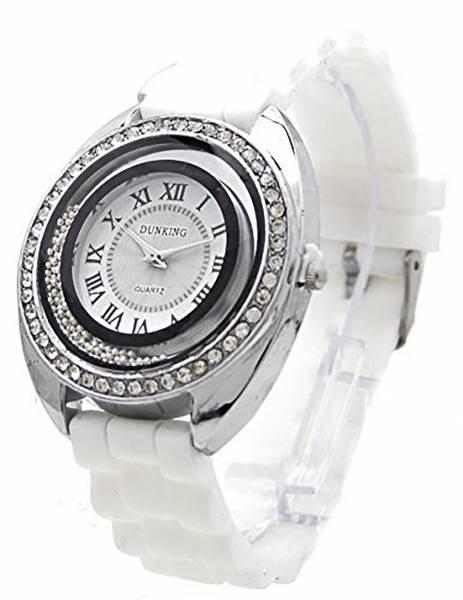 Trendit Damenuhr mit Strass tolle Designer Uhr weiss Armbanduhr Damen Uhr Lady Watch Dunking White Star