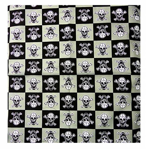Bandana-Nickituch schwarz beige Totenkopf-Motiv Kopftuch Halstuch Armband 50x50cm TOTENKOPF WEISS U4-2 (Killer Karo) 3365
