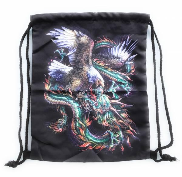 Beutel-Rucksack Herren-Damen Hipster-Tasche schwarz Motiv Adler-Drache Turnbeutel Segeltuch Seemannsbeutel Stoffbeutel Kinder Gym Tasche - Black Eagle-Dragon