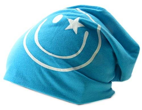 Cap 3347 Stoffmuetze Smiley Long Beanie Urban Beanie Chill Wear Summer (türkis)