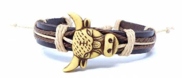 Armband Herren Damen Leder-Armbänder Handmade - White Bull