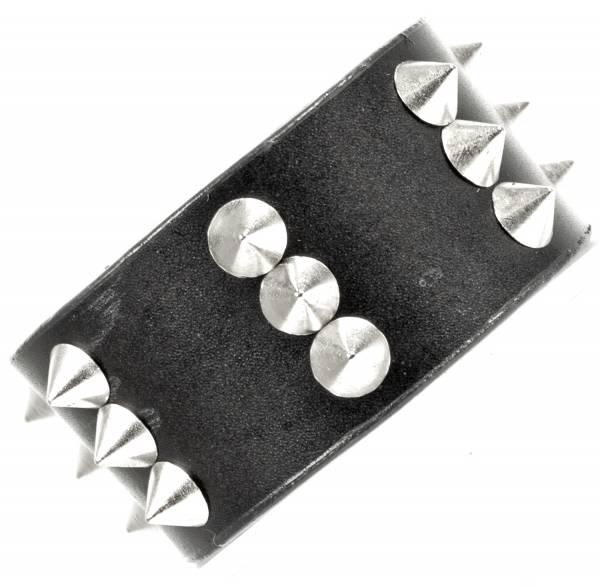 Premium Killer-Nieten Armband 3 Reihen Spalt-Leder schwarz