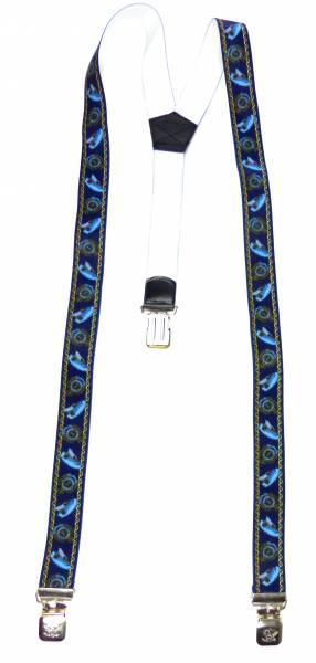 Hosenträger d.blau Seefahrt-Motiv Kapitäns-Mütze Maritim-Suspenders Blue Design, mit 3 Clips, 3,5 cm