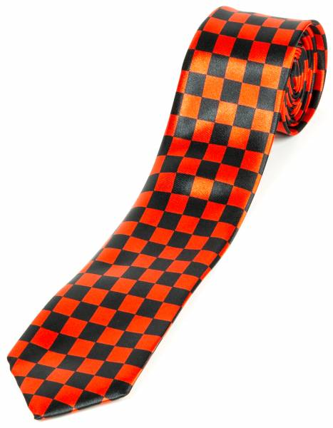 Motto-Krawatte Designer Schlips Schwarz Karo Multicolor Schwarz Rot