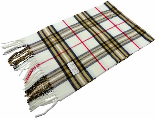 Schal Herren Damen Schal weiss kariert Winter Luxus Scarfs Deluxe Schals super Soft weich (weiss) 4812