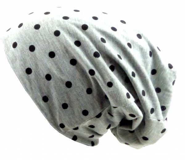 Beanie-Cap grau mit Punkt-Motiv schwarz Herren Damen Mütze long Beanie Caps Stoffmütze Beanie grey Point-Theme black Urban Beanie Killer Chill Wear Summer Schwarz 5331