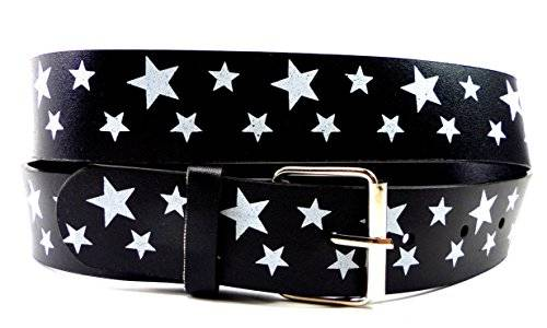 Guertel 1600 Punk Rock Emo Belt Gürtel 110cm STAR WHITE -3,5