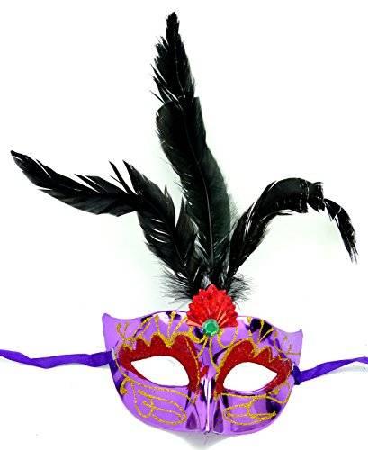 Masken Herren Damen Feder Maske lila elegant mit schwarzen Federn venezianische Karneval Gesichts Maske Fasching Feder Mask (#2L-S) 2385