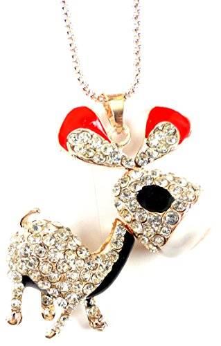 edle Strass Esel Halskette Silber mit Rot Gold und Strass OW2