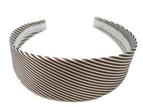 Haar-Reif 2132 Haar-Klammer Haarreifen weiss mit braunem Streifen Muster O73