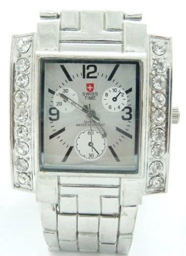 Armband-uhr Edle Uhr Designer Damenuhr Herren-Uhren Stahlarmband Strass SILBER 25-1