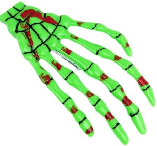 Haarklammer Haar Spange grün Halloween Skelett Hand Gothic Punk Rock Hair Clip Bobby Pin Skull Skeleton Hand Green 3207