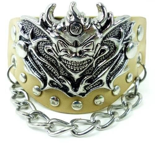 Armband 2867 Echt Leder Armband mit Teufelskopf besetzt BEIGE U4-11
