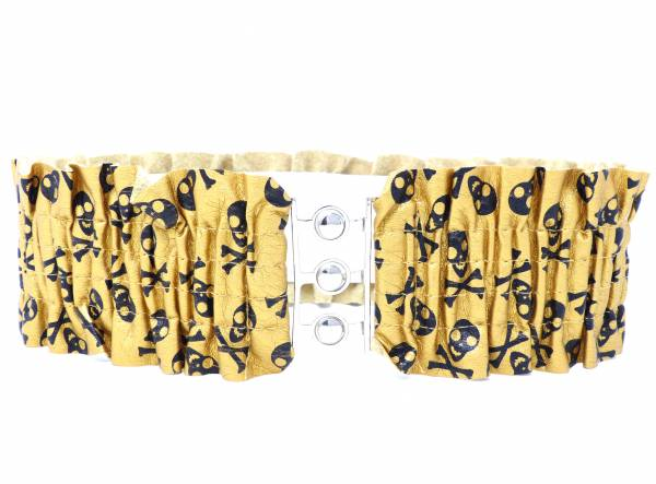 Damen-Gürtel Taillen-Gürtel gold-weiss Totenkopf-Motiv 74 - 130cm Stretch viele Modelle (Totenkopf Gold Weiss)