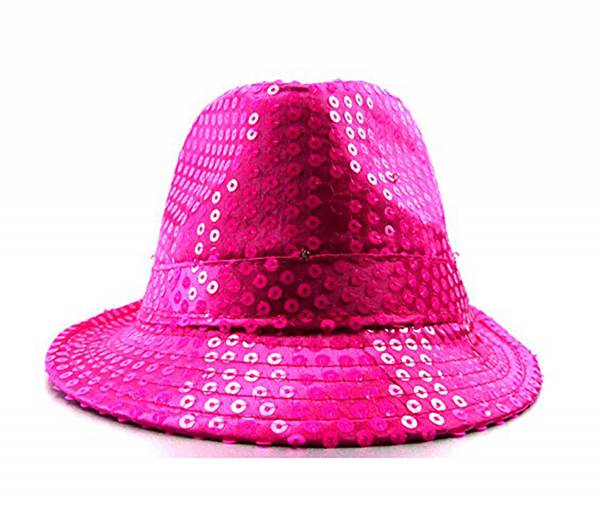 Hut Damen Herren Party Kopfbedeckung viele LED Fedora Party Huete LED Pailletten Trilby Hut mit LED Lichtern Party LED Hat (pink) 3794